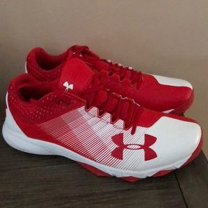 Under Armour red & white sneakers size 15 new